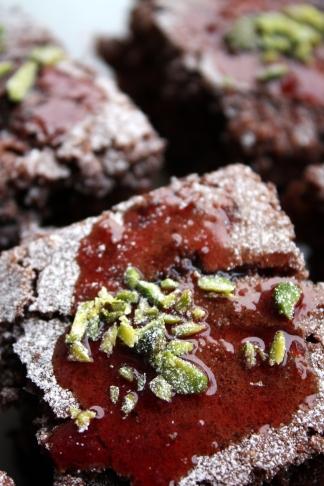 Glazed Chocolate Cherry Brownies